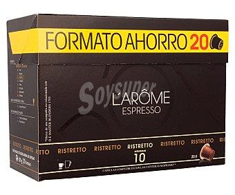 L'OR ESPRESSO Café Ristretto intensidad 10 compatible con Nesspreso Estuche 20 cápsulas