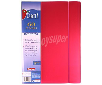 Auchan Carpeta con tapa de poliuretano, con 60 fundas de tamaño folio y cierre de gomas auchan 60 fundas