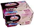 Yogur natural azucarado sin lactosa y con 50% menos de azúcar 4 x 125 g Clesa