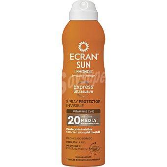 Ecran Sun Lemonoil Broncea y protege spray protector invisible ultrasuave FP-20 con vitaminas C y E resistente al agua Spray 250 ml