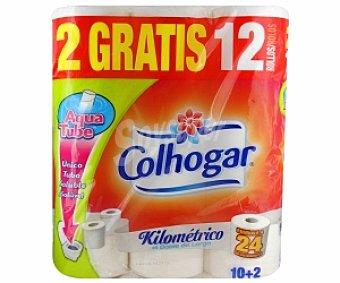 COLHOGAR Papel higiénico kilométrico Aqua Tube 12 Unidades
