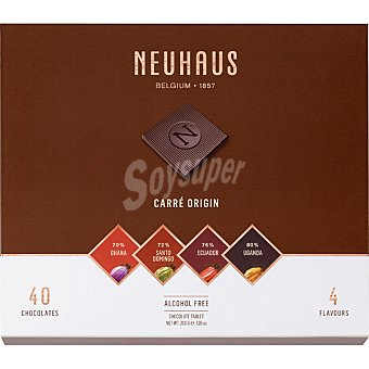 Neuhaus Carré Origin napolitanas de chocolate negro 40 piezas Estuche 200 g