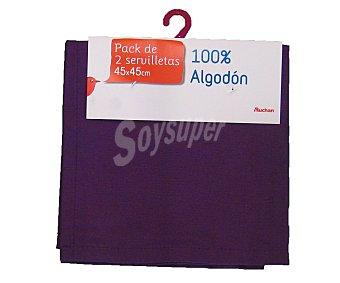 Auchan Pack de 2 servilletas lisas de algodón, color morado, 45x45 centímetros 1 Unidad