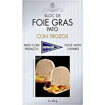 Hipercor Bloc de foie gras de pato con trozos envase 80 g Envase 80 g