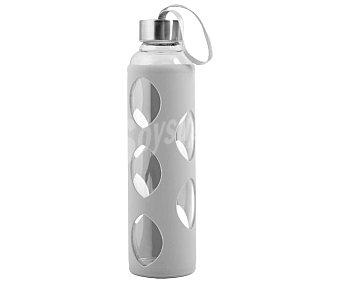 Pasabahce Botella de vidrio borosilicato con cubierta de silicona color gris y tapa de acero inoxidable, , pasabahce 0,6 litros