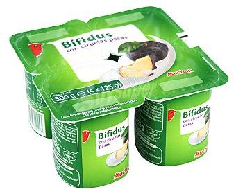 Auchan Yogur con bífidus y trocitos de ciruelas y pasas 4 x 125 g
