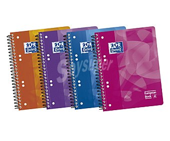 Oxford Cuaderno de tamaño DIN A5, con cuadricula de 5x5 milímetros,120 hojas de , tapas de polipropileno, microperforado y encuadernación con espiral metálica 90 gramos