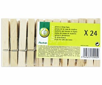 Productos Económicos Alcampo Pinzas de madera para ropa 24 Unidades