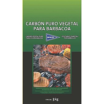 HIPERCOR Carbón Puro vegetal para barbacoa bolsa 3 kg Bolsa 3 kg