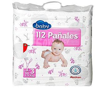 Auchan Pañales para Niños de 4 a 9 Kilogramos Talla 3 112 Unidades