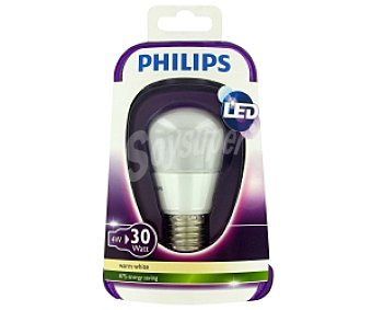 Philips Esférica Led, 4W(equivalencia 30W), casquillo E27, blanca cálida, 230V, forma P45 Mate , Regulable 1u