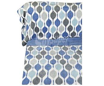 Karamelo home Juego de sábanas de 3 piezas 100% poiliéster con estampado color azul, tejido microlina, 90cm. HOME.