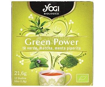 Yogi Tea Infusión ecológica matcha energía (té verde, matcha, menta piperita) 12 bolsitas. 21,6 g