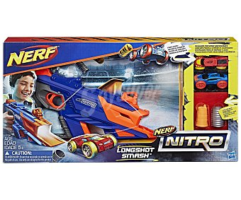 Nerf Nerf Nitro Longshot Smash, set lanzador de coches de goma espuma más accesorios para circuito