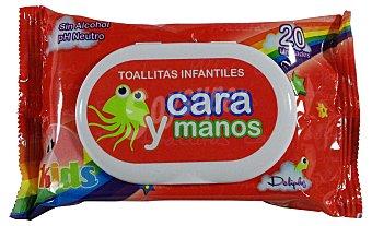DELIPLUS Toallitas húmedas cara y manos infantil  Paquete de 20 uds