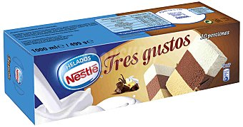Helados Nestlé Bloque de helado tres gustos vainilla, chocolate y nata Estuche 1 l