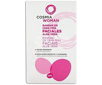 Auchan Bandas depilatorias de cera fría faciales aloe vera 20 unidades