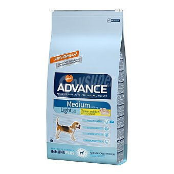 ADVANCE MEDIUM Light Pienso para perros adultos Advance Medium Light pollo y arroz 12 Kg