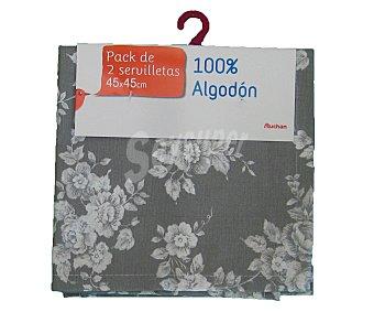 Auchan Pack de 2 servilletas de algodón, estampado floral color gris claro, 45x45 centímetros 1 Unidad
