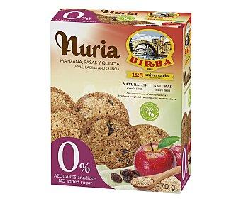 Nuria Galletas con manzaza, pasas y quinoa, 0 %´azúcares añadiso 270 g