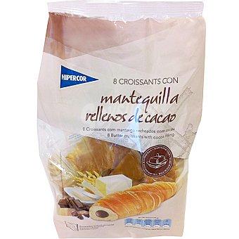 Hipercor Croissants con mantequilla rellenos de cacao bolsa 320 g 8 unidades