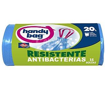 handy bag Bolsas de basura resistente antibacterias 45x50 para cubo pequeño rollo 15 unidades 20 litros