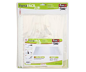 FIXO Lote de 5 forralibros de polipropileno con solapa ajustable, tira adhesiva reposicionable y de 28x52 centímetros 1 unidad
