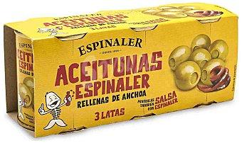 Espinaler Aceitunas rellenas de anchoa Pack 3 x 120 g