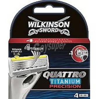 WILKINSON Quattro Titanium Cargador de afeitar Pack 4 unid