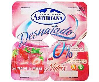 Central Lechera Asturiana Yogur desnatado con trozos de fresa Pack 4x125 g