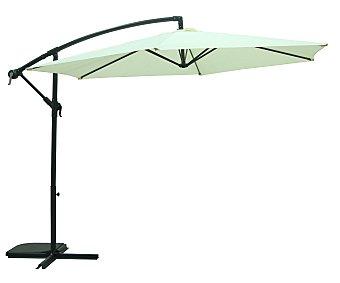 Garden star Parasol fijo de color blanco con estructura de aluminio de 8 varillas , cobertura de poliester, manivela para abrir, cerrar y cambiar la altura y 3 metros 1 unidad
