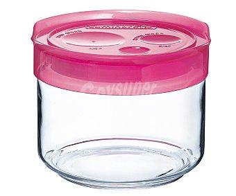 LUMINARC Tarro para conservación de alimentos fabricado en vidrio con tapa de plástico color fucsia, cierre hermético, 0,5 litros de capacidad 0,5 L