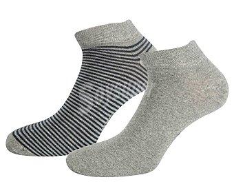 In Extenso Pack de 2 pares de calcetines invisibles para hombre color gris, talla 39/42.