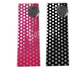 DMM Bolsa para regalos alargada (ideal para botellas), lisa, con lunares metalizados sobre fondo negro o rosa y tamaño de 12x39x9.5 centímetros 1 unidad