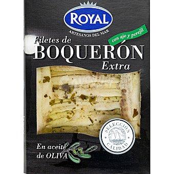 Pescados Royal Filetes de boquerón extra en aceite de oliva con ajo y perejil Envase 80 g