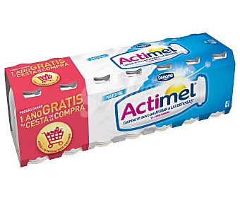 DANONE ACTIMEL Yogur liquido natural pack 14 unidades 100 ml