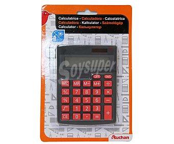 Auchan Calculadora de sobremesa con pantalla de 10 dígitos y doble alimentación solar y pilas 1 LR54 (incluida) 1 unidad