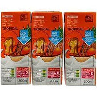 Eroski Lactozumo tropical Pack 3x200 ml