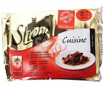Sheba Alimento completo para gatos adultos de carne en salsa 4 Unidades de 85 Gramos