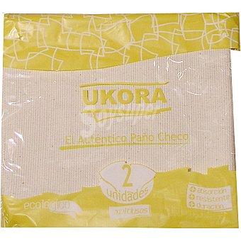 UKORA Bayeta de paño checo multiusos ecológico 50x50 cm paquete 2 unidades Unidades