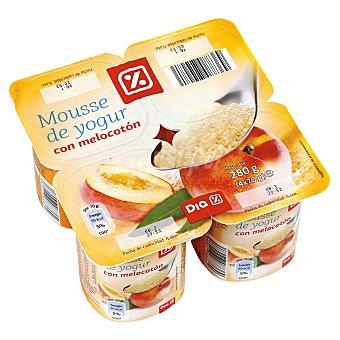 DIA Mousse yogur melocotón pack 4 unidades 70 g Pack 4 unidades 70 g