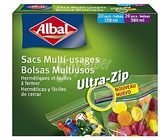 Albal Bolsas multiusos herméticas, 20 bolsas de 150 mililitros y 20 de 380 mililitros 40 unidades
