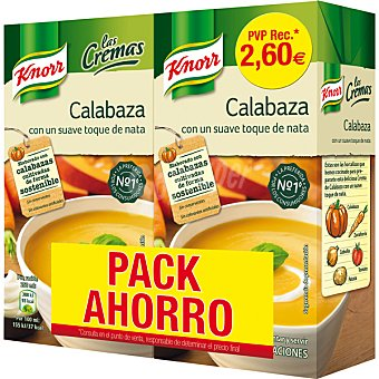 Knorr Las cremas crema de calabaza con un suave toque de nata  pack 2 envase 500 ml