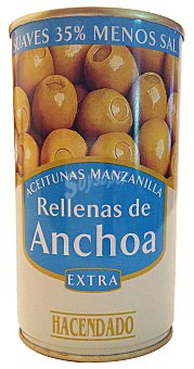 Hacendado Aceituna rellena anchoa suave Lata 150 g escurrido