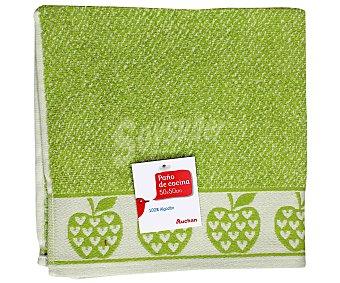 AUCHAN Paño de rizo estampado, color verde, 50x50 centímetros 1 Unidad
