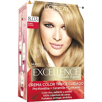 Excellence L'Oréal Paris Tinte Rubio Divino nº 8.03 crema color triple cuidado caja 1 unidad con Pro-keratina + Ceramida + Colágeno Caja 1 unidad