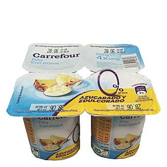 Carrefour Yogur con piña desnatado 0% Pack de 4x125 g