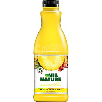 VIA NATURE Amarillo Zumo de frutas tropicales con guaraná Envase 900 ml