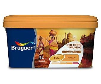 Bruguer Pintura plástica monocapa de Interior, de color melocotón India y acabado natural, de la serie Colores del mundo 4 litros