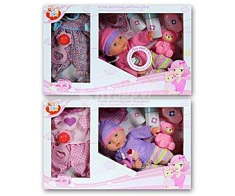Rik&Rok Auchan Muñeco bebe con accesorios y vestido, llora y ríe 1 unidad